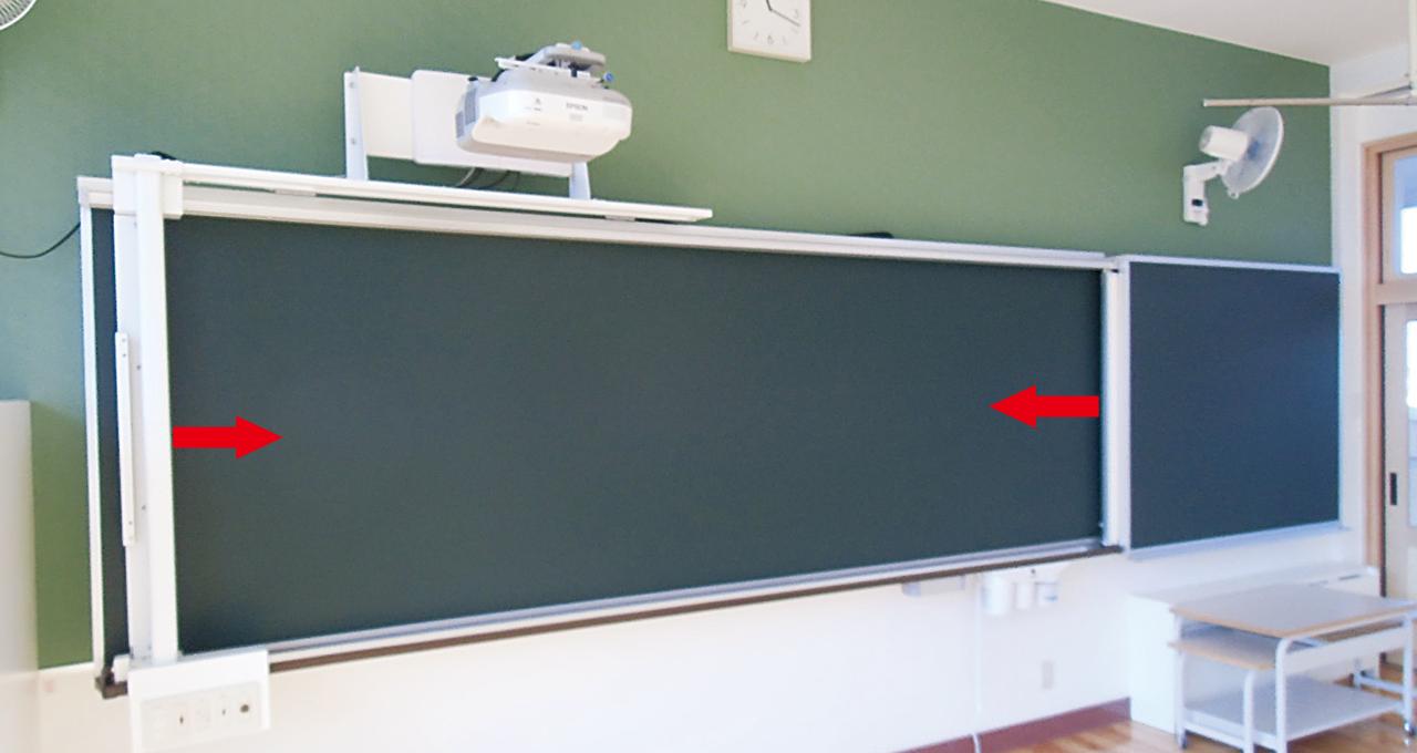 アルミ枠半曲面マルチボード(スクリーンボード付)プロジェクタースライド装置付